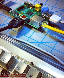 Raspberry Pi computer being assembled. 